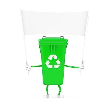 Reciclar sinal verde lixo lixeira mascote personagem e banner em branco branco vazio com espaço livre para seu projeto em um fundo branco. renderização 3d