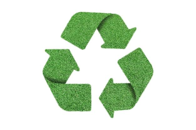 Recicle o símbolo do logotipo da grama verde, isolado no branco