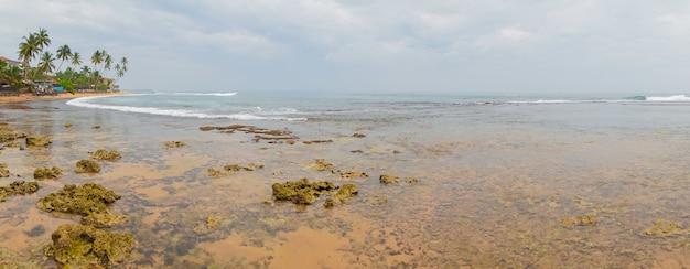 Recife na maré baixa na costa do oceano índico.