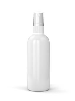 Recipiente branco do frasco de spray isolado no fundo branco