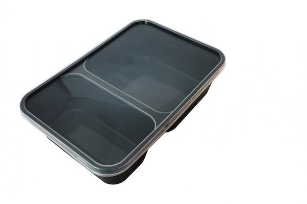 Recipiente de alimento de plástico preto sobre fundo branco