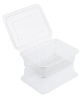 Recipiente de comida de plástico transparente vazio isolado no branco com traçado de recorte