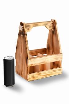 Recipiente de madeira para latas ou garrafas