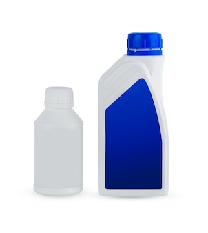 Recipiente de plástico branco para óleo de produtos de tratamento de motor isolado no branco
