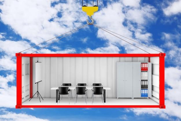 Recipiente de transporte de carga vermelho com parede lateral removida convertido em escritório durante o transporte com gancho de guindaste em um fundo de céu azul. renderização 3d