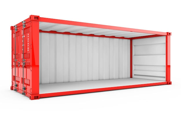 Recipiente de transporte vermelho vazio com parede lateral removida em um fundo branco. renderização 3d.
