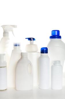 Recipiente plástico para produtos de limpeza para limpeza da casa