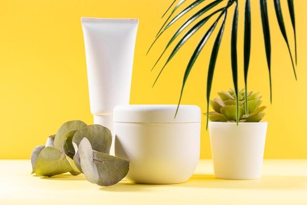 Recipientes cosméticos com plantas