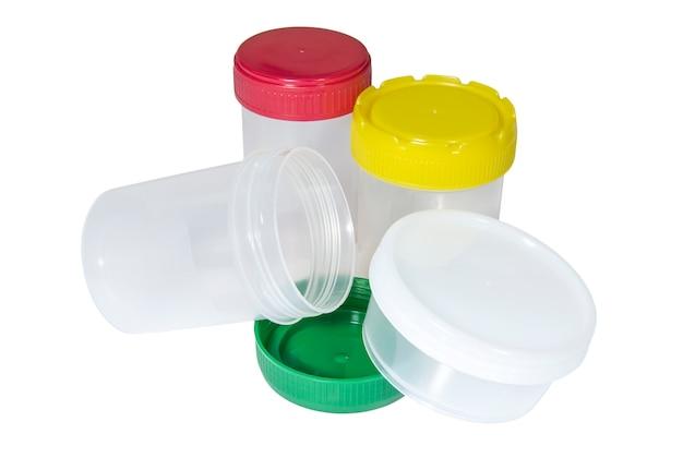 Recipientes de plástico médico com tampas multicoloridas para coleta de material biológico