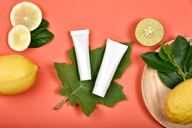 Recipientes para frascos de cosméticos com vitamina c natural