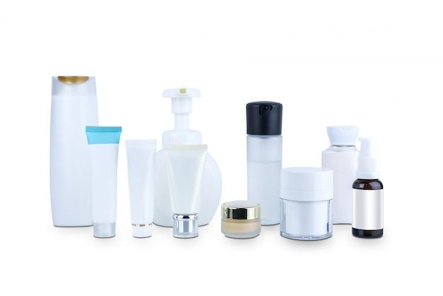 Recolha de vários recipientes cosméticos