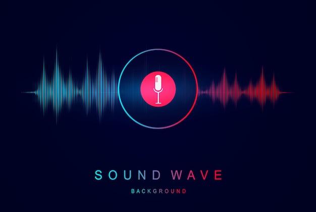 Reconhecimento de voz e som equalizador de ondas sonoras visualização moderna e elemento futurista