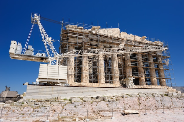 Reconstrução do parthenon na acrópole, atenas, grécia