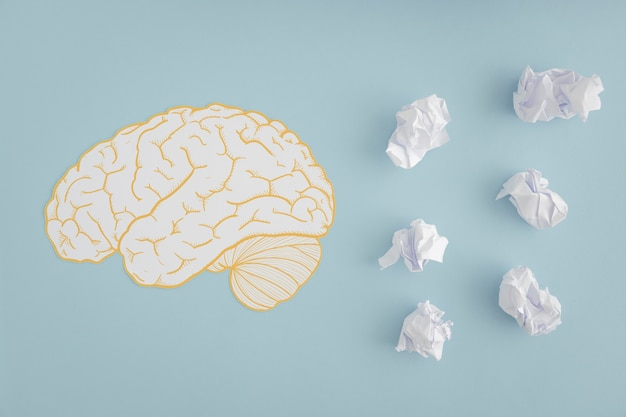 Recorte de cérebro com bolas de papel amassado branco sobre fundo cinza