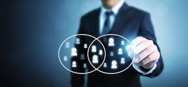 Recursos humanos, crm e conceito de negócio de recrutamento, espaço de cópia
