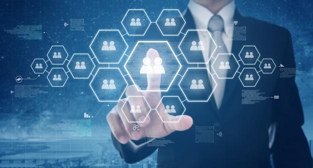 Recursos humanos de negócios e redes sociais