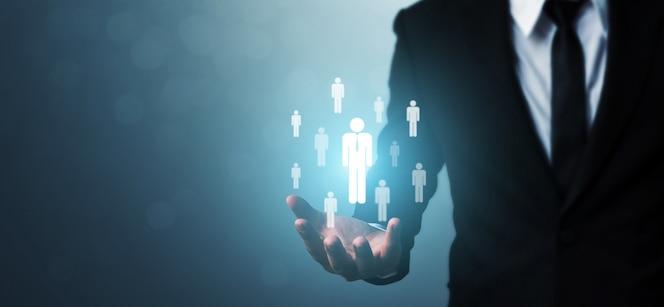 Recursos humanos, gestão de talentos e conceito de negócio de recrutamento