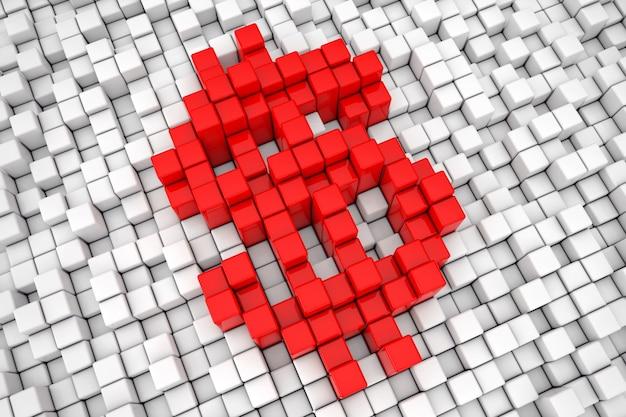 Red dollar block cube pixel sign closeup extrema. renderização 3d