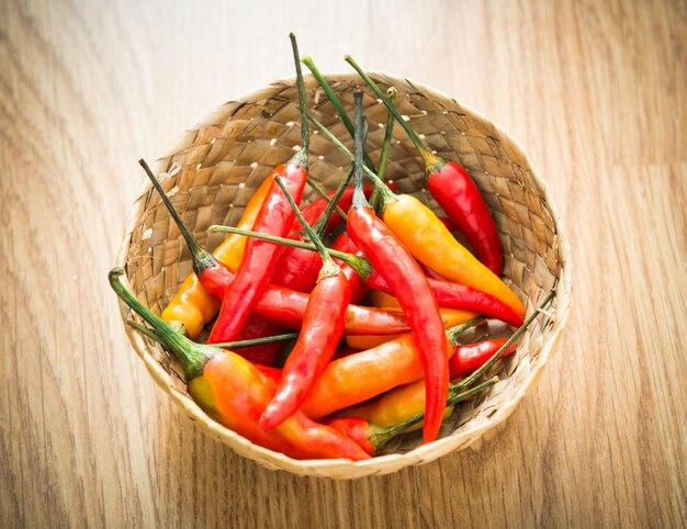 Red hot chili peppers em tigela de madeira