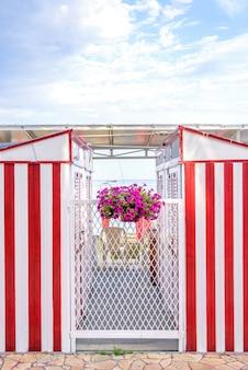 Red stripes mudando cabines e flores roxas na praia