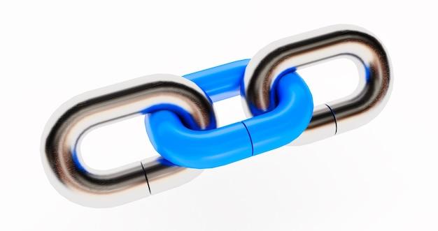 Rede chrome com um elo azul