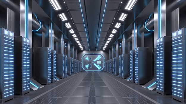Rede da sala do servidor com luzes azuis.