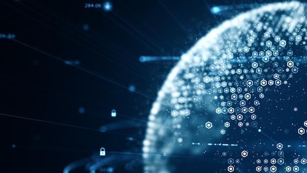 Rede de código binário de dados de tecnologia transportando fundo de conectividade