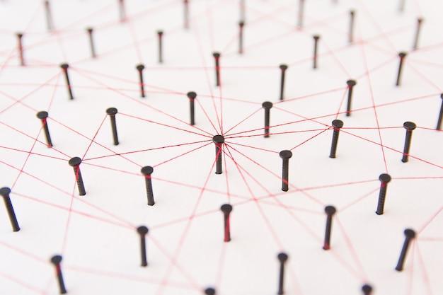 Rede de comunicações, a conexão entre as duas redes. simulação de rede