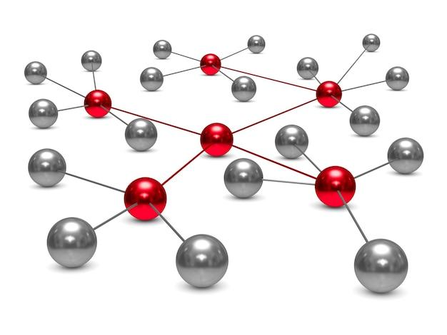 Rede de conceito em fundo branco. ilustração 3d isolada