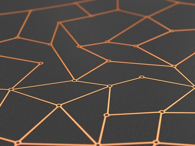 Rede de conceito em fundo escuro. ilustração 3d