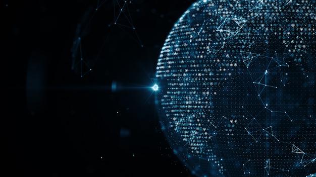 Rede de dados de tecnologia científica abstrata em torno do planeta terra, transmitindo o fundo de conectividade