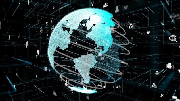 Rede de internet futurista online e conceito de iot da internet das coisas