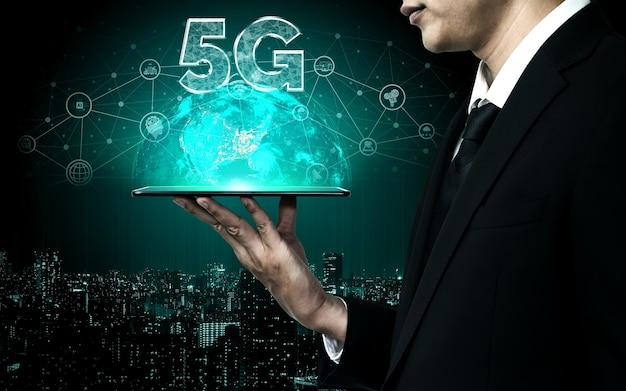 Rede de internet sem fio de tecnologia de comunicação 5g para crescimento global de negócios, mídia social, comércio eletrônico digital e uso doméstico de entretenimento.