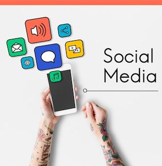Rede de mídia social na internet digital