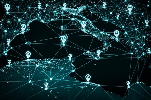 Rede de pessoas da europa e conexão internacional em percepção inovadora