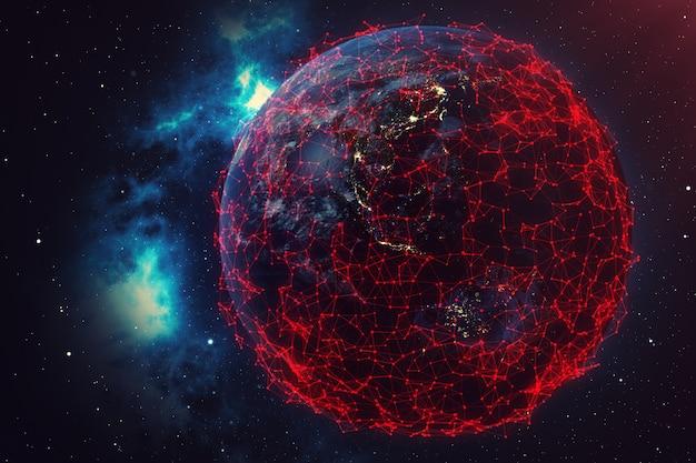 Rede de renderização 3d e troca de dados sobre o planeta terra no espaço.
