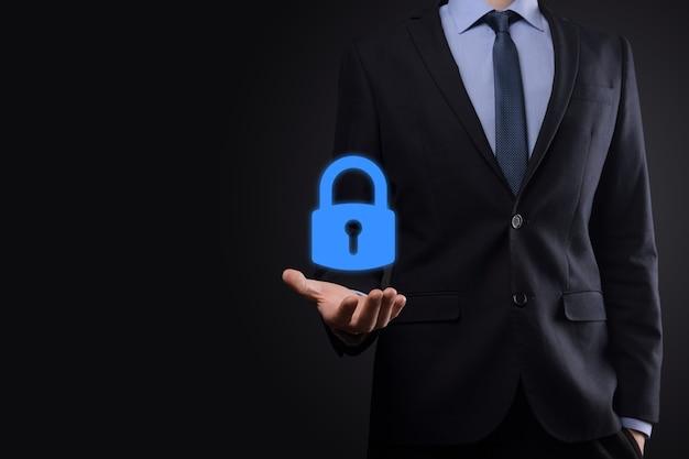 Rede de segurança cibernética. ícone de cadeado e rede de tecnologia de internet. proteção de dados pessoais