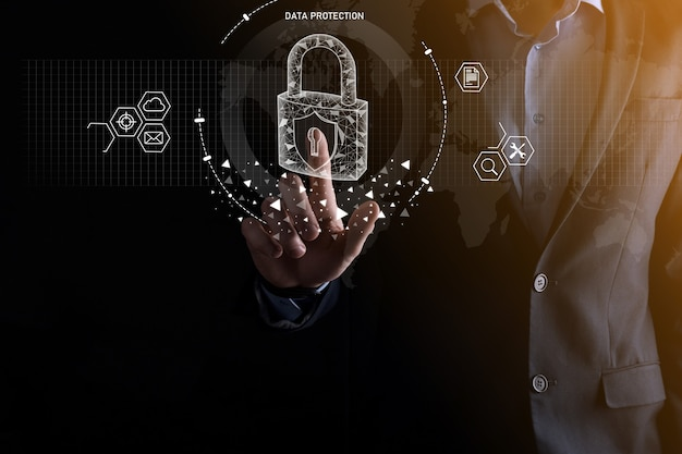 Rede de segurança cibernética. ícone de cadeado e rede de tecnologia de internet