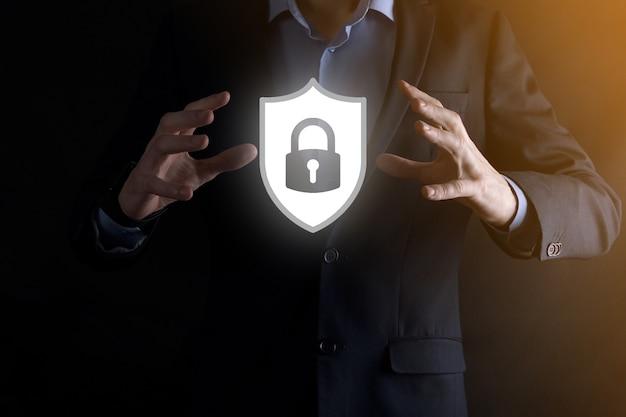 Rede de segurança cibernética. ícone de cadeado e redes de tecnologia de internet.