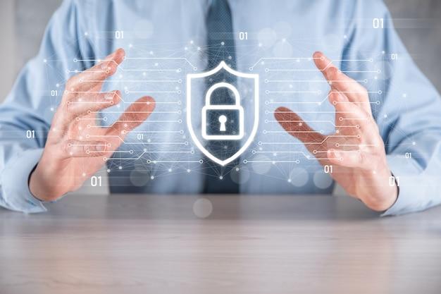 Rede de segurança cibernética. ícone de cadeado protegendo dados conceito de privacidade de proteção de dados. gdpr. eu