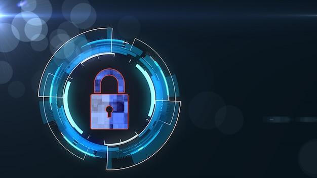 Rede de tecnologia de internet e conceito de segurança cibernética