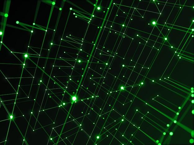 Rede de tecnologia digital conectando-se com fundo abstrato de linha, tema verde.