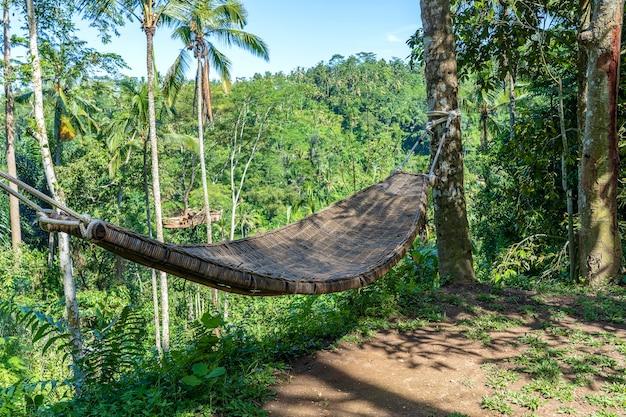 Rede de vime de bambu ao lado da selva tropical na ilha de bali, indonésia, close-up