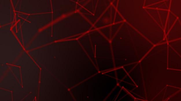 Rede de wireframe geometria abstrata vermelho turva e ponto de conexão em fundo preto