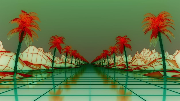 Rede de wireframe syntwave. palmeiras ao redor da estrada. paisagem retrowave, renderização em 3d.