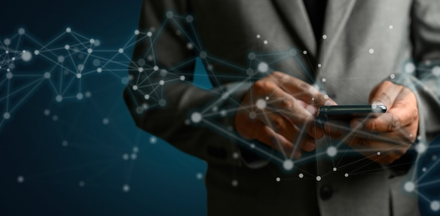 Rede e dados cliente conexão nuvem baseado web homem rede esfera 3d rendering