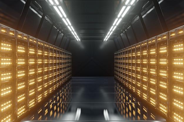 Rede escura da sala do servidor com luzes amarelas.