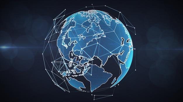 Rede global crescente e conceito das conexões de dados.