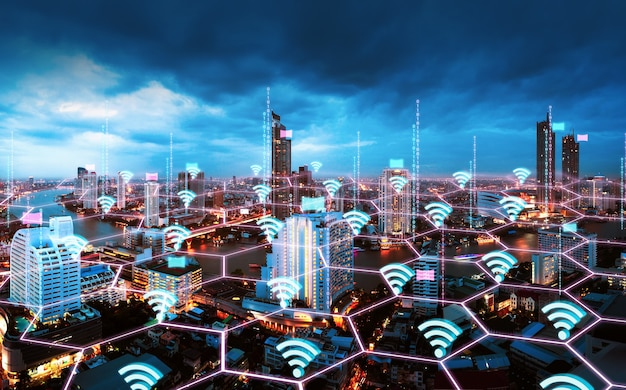 Rede inteligente e conceito de tecnologia de conexão wifi com plano de fundo da cidade de bangkok ao entardecer na tailândia, vista panorâmica