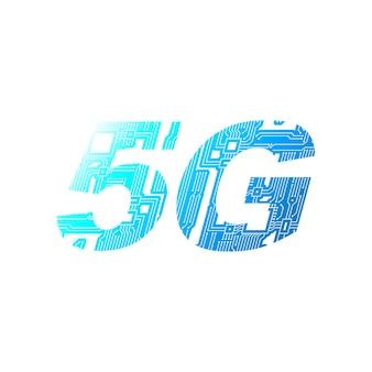 Rede móvel 5g da placa de circuito em fundo branco.
